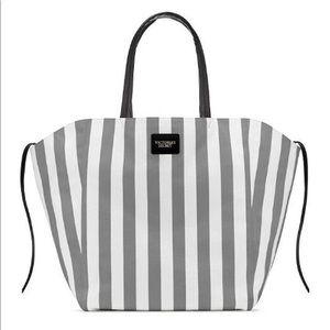 Victoria's Secret Striped Gray White Canvas Tote